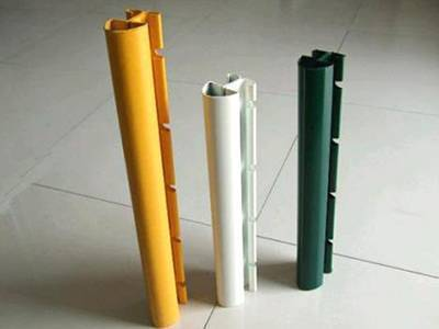 three PVC coated peach shape posts without flange plate